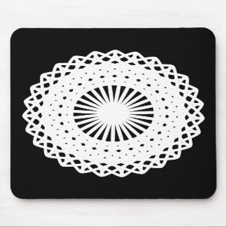 Doily. White lace circle. On Black. Mouse Pads