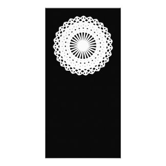 Doily White lace circle On Black Personalized Photo Card