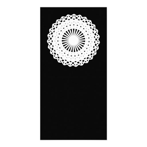 Doily. White lace circle. On Black. Personalized Photo Card