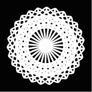 Doily. White lace circle. On Black. Photo Cut Out