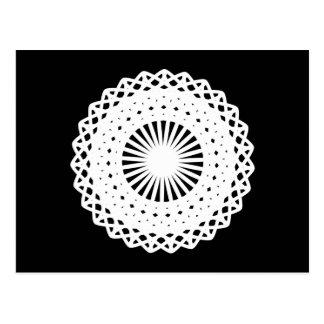 Doily. White lace circle. On Black. Postcard