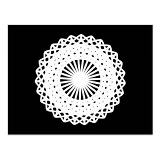 Doily. White lace circle. On Black. Postcards