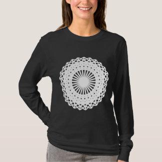 Doily. White lace circle. On Black. T-Shirt