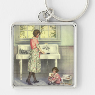 Doing Dishes Silver-Colored Square Key Ring