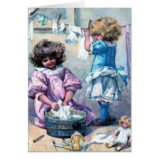Doing Doll Laundry Greeting Card