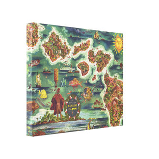 Dole Map of Hawaii 1950 • Joseph Feher Oil Paint Canvas Print