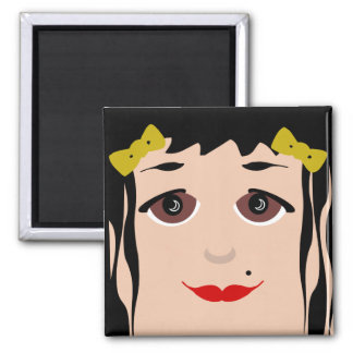 Doll Face Big Eyes Cartoon Girl Magnet 2 Inch Square Magnet