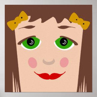 Doll Face Big Eyes Cartoon Girl Poster