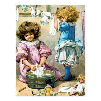 Doll Laundry Day Postcards