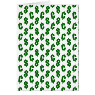 Dollar and cent signs pattern card