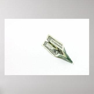 Dollar Bill Airplane Poster