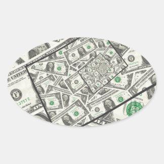 Dollar Bills Design Oval Sticker