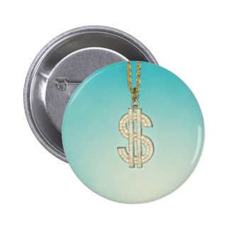 Dollar Bling 6 Cm Round Badge