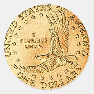 Dollar Coin USA Classic Round Sticker