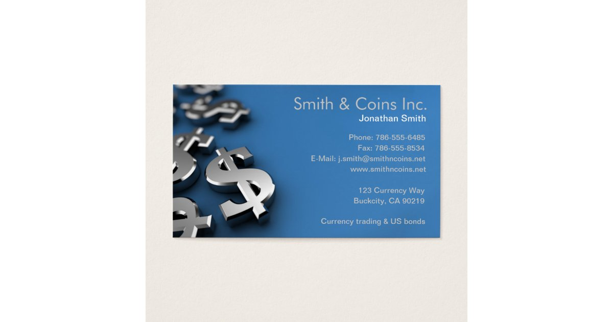 Dollar Currency Symbols Business Card Zazzle