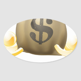 Dollar sack gold people oval stickers