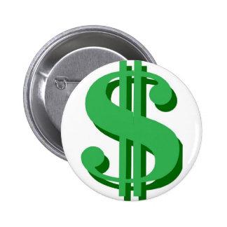 $ dollar-sign 6 cm round badge
