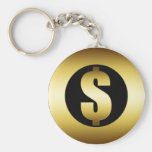 DOLLAR SIGN BASIC ROUND BUTTON KEY RING