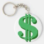 $ dollar-sign basic round button key ring
