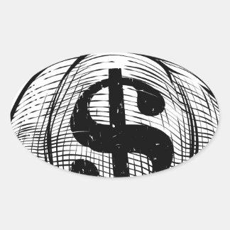 Dollar Sign Burlap Sack or Money Bag Oval Sticker