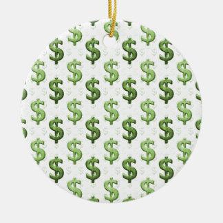 Dollar Sign Pattern Christmas Ornament