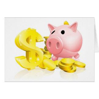 Dollar sign piggy bank card