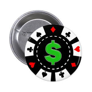 DOLLAR SIGN POKER CHIP 6 CM ROUND BADGE