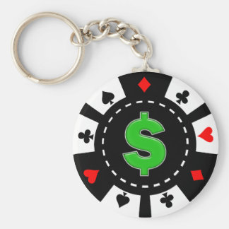 DOLLAR SIGN POKER CHIP BASIC ROUND BUTTON KEY RING