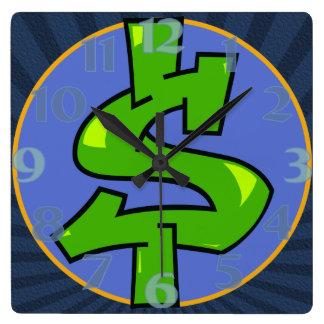 Dollar Sign Square Clock