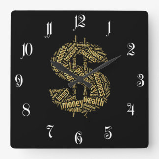 Dollar sign square wall clock