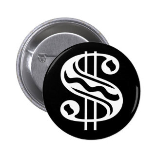Dollar Sign - White 6 Cm Round Badge