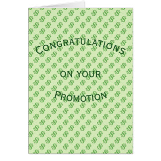Dollar Signs on Green Promotion  Congratulations Card