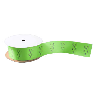 Dollar Signs on Green Satin Ribbon