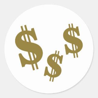 Dollar signs round sticker