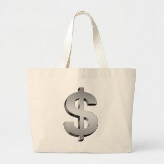 dollar symbol large tote bag