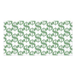 Dollar symbol pattern photo card template