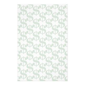 Dollar symbol pattern stationery paper