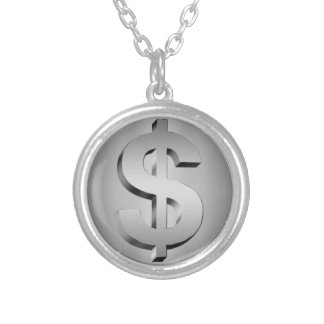 dollar symbol silver plated necklace