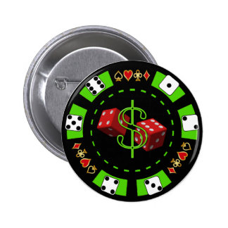 DOLLARS AND DICE POKER CHIP 6 CM ROUND BADGE
