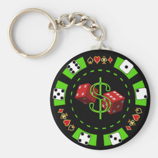 DOLLARS AND DICE POKER CHIP KEY RING