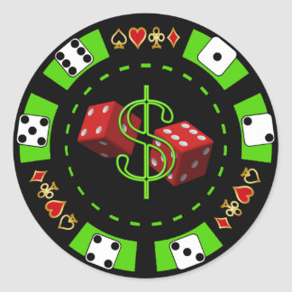 DOLLARS AND DICE POKER CHIP ROUND STICKER
