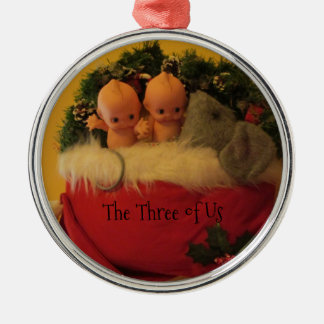 Dollies snuggled with mouse in Santa hat Christmas Ornament