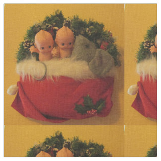Dollies snuggled with mouse in Santa hat Fabric