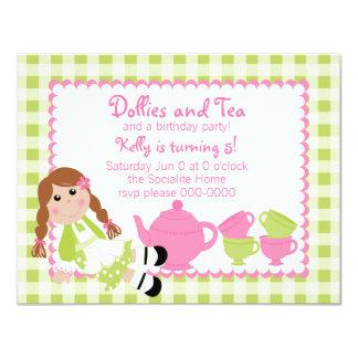 Dollies Tea Party 11 Cm X 14 Cm Invitation Card