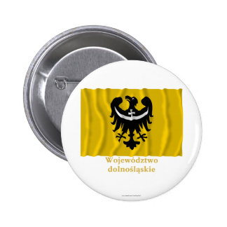 Dolnośląskie - Lower Silesia waving flag with name 6 Cm Round Badge