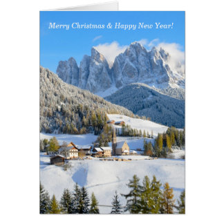 Dolomite village in winter christmas card