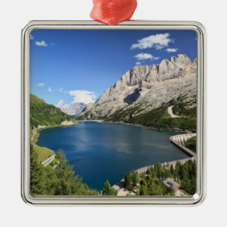 Dolomites - Fedaia lake and pass Silver-Colored Square Decoration