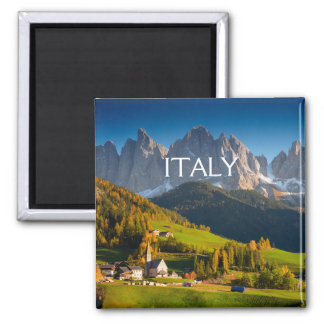 Dolomites village in fall square text magnet
