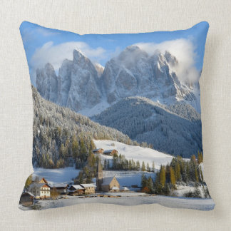 Dolomites village in winter throw pillow