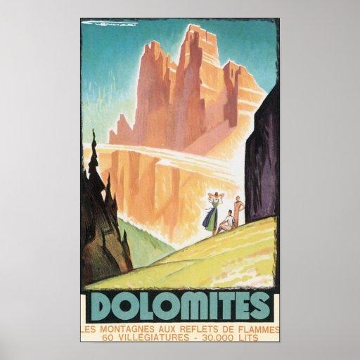 Dolomites Vintage Travel Poster